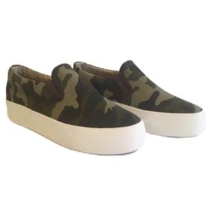 NWT - Restricted Camouflage Print Slip On Sneakers